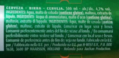 Cerveza - Información nutricional - es