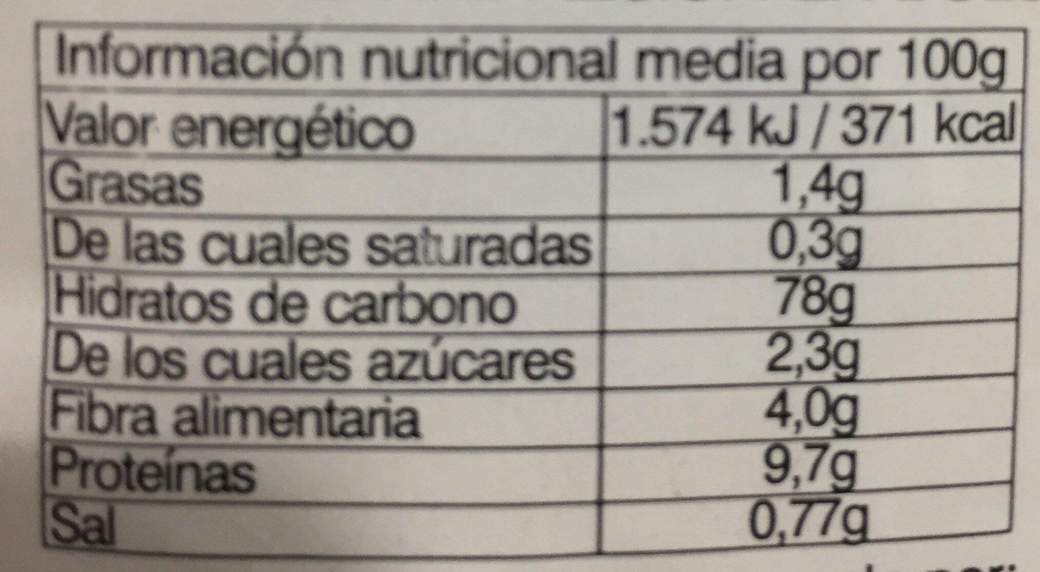 """Pan Rallado """"Casero"""" - Información nutricional - es"""