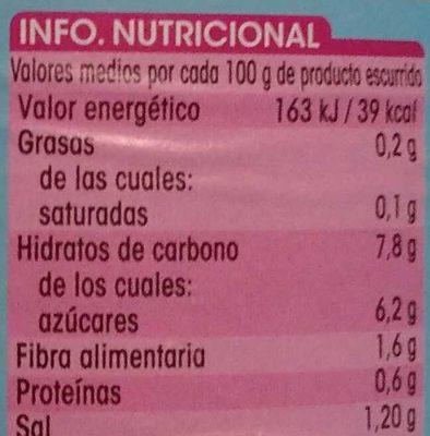 Zanahoria en tiras primera - Informations nutritionnelles
