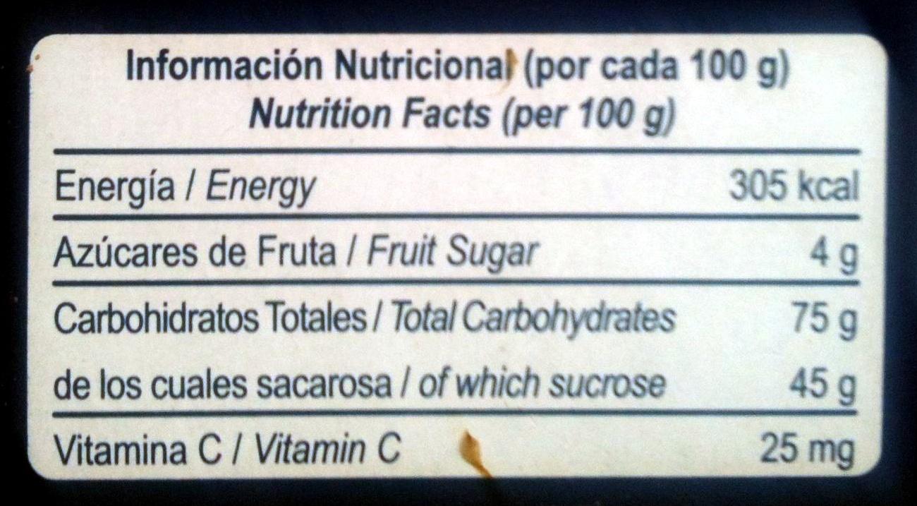 Pasta de guayaba - Informations nutritionnelles - es
