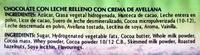 """Tableta de chocolate con leche """"Dolci Messaggi"""" con crema de avellana - Ingrediënten"""