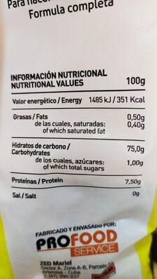 Puré de papas - Nutrition facts - es