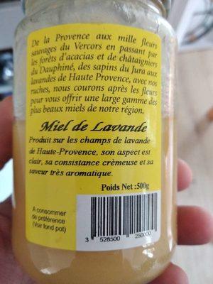 Miel de lavande - Ingredientes