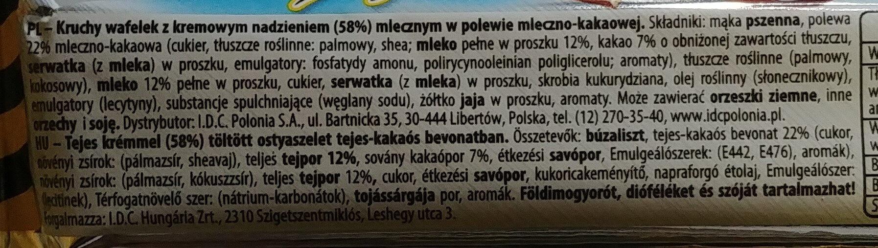 Kruchy wafelek z kremowym nadzieniem (58%) mlecznym w polewie mleczno-kakaowej - Składniki - pl