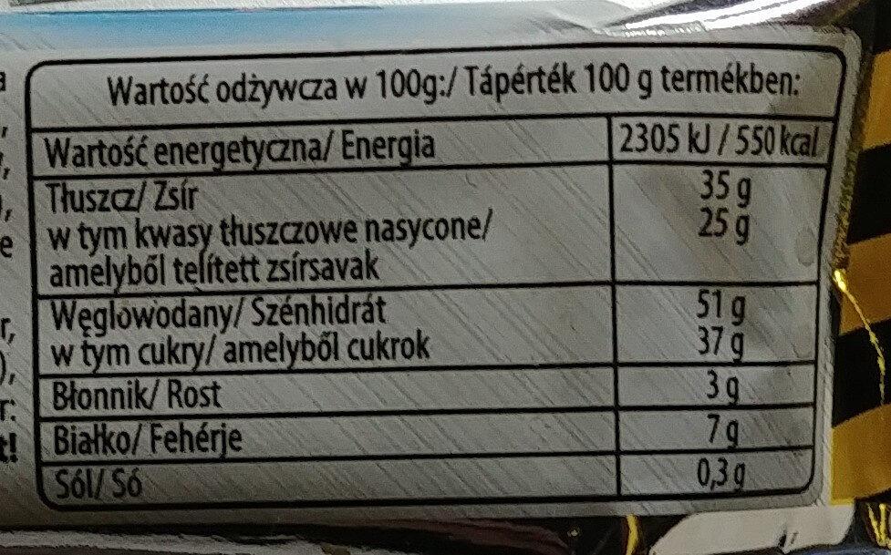 Kruchy wafelek z kremowym nadzieniem (58%) mlecznym w polewie mleczno-kakaowej - Wartości odżywcze - pl