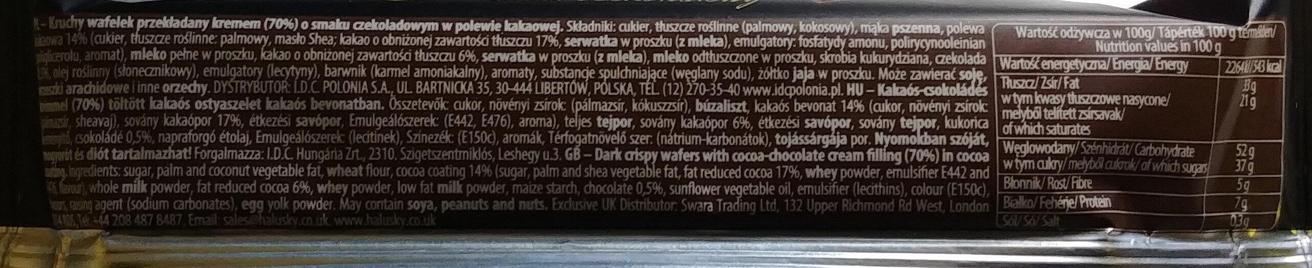 Kruchy wafelek przekładany kremem (70%) o smaku czekoladowym w polewie kakaowej - Składniki - pl