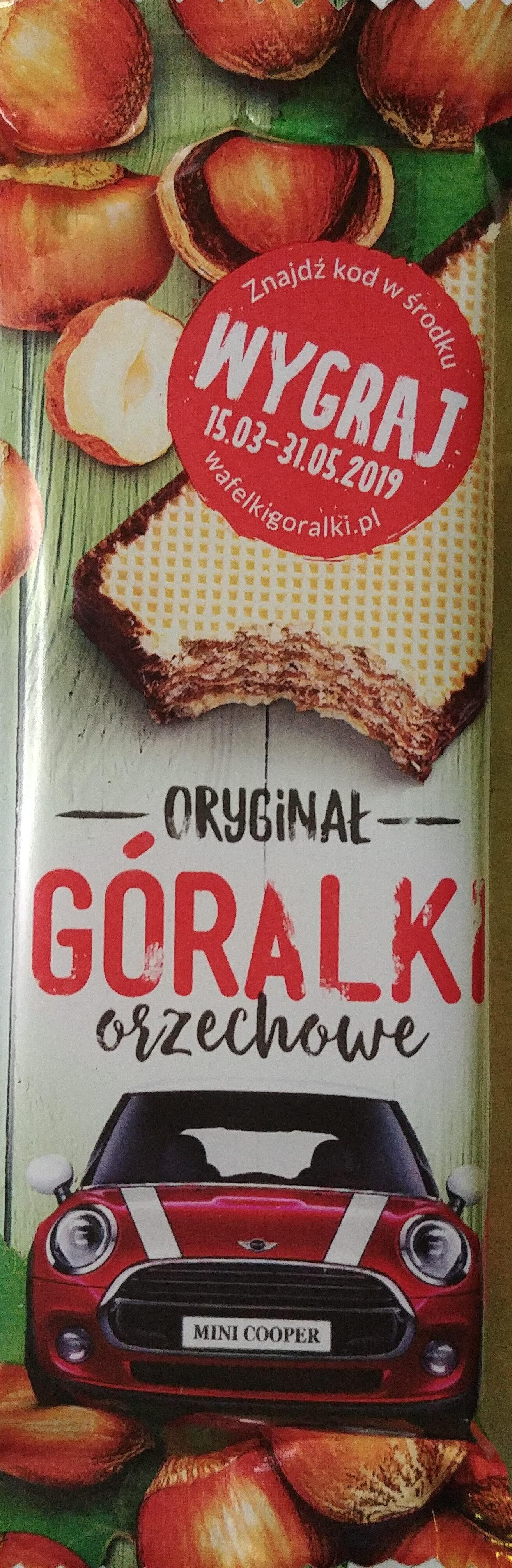 Oryginał Góralki orzechowe - Wafelki z kremowym nadzieniem (72%) z orzechami laskowymi w obwodowej polewie kakaowej. - Produkt - pl