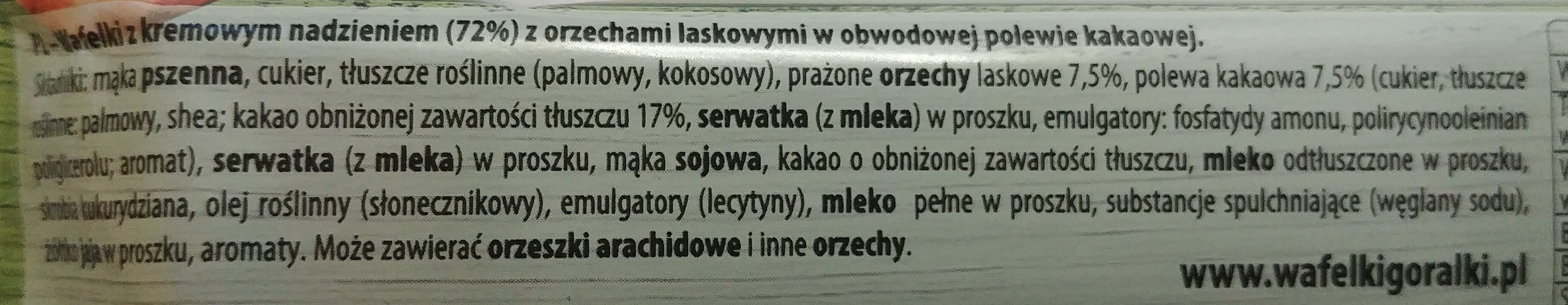Oryginał Góralki orzechowe - Wafelki z kremowym nadzieniem (72%) z orzechami laskowymi w obwodowej polewie kakaowej. - Składniki - pl