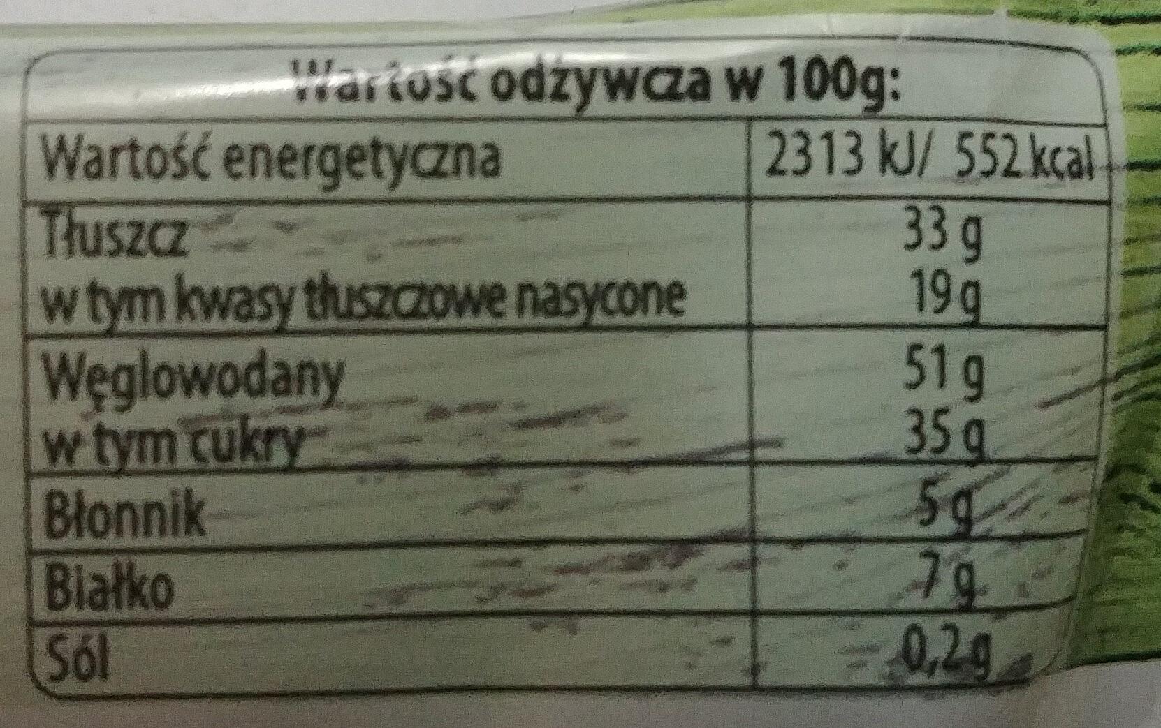 Oryginał Góralki orzechowe - Wafelki z kremowym nadzieniem (72%) z orzechami laskowymi w obwodowej polewie kakaowej. - Wartości odżywcze - pl