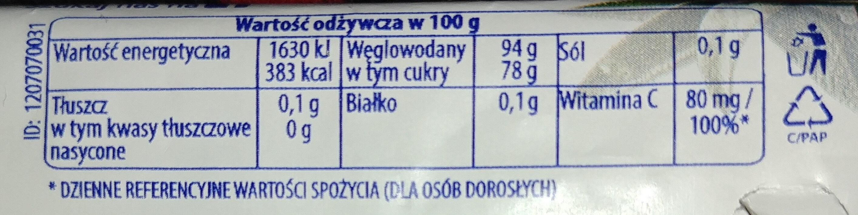 Nadziewane ziołowe cukierki z szałwią i Wit. C - Wartości odżywcze - pl