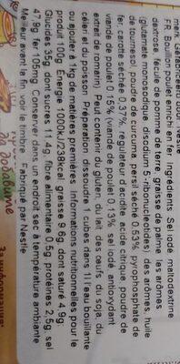 Bouillon de poulet - Voedingswaarden - bg