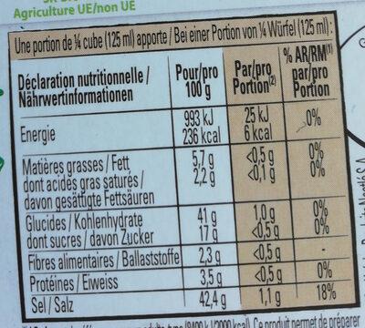 Bouillon Kub Bio Bouquet Garni - Voedingswaarden