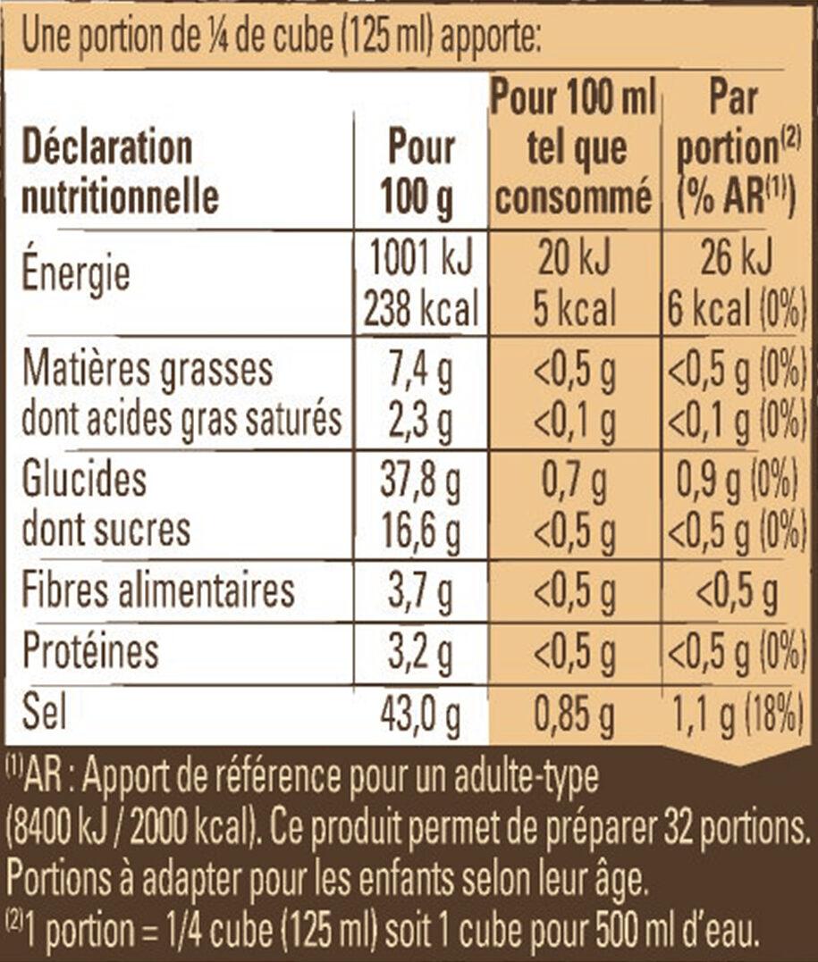 Bouillon Kub Bio Légumes - Voedingswaarden - fr