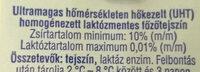 Főzőtejszín Lactose Free - Ingrédients - hu