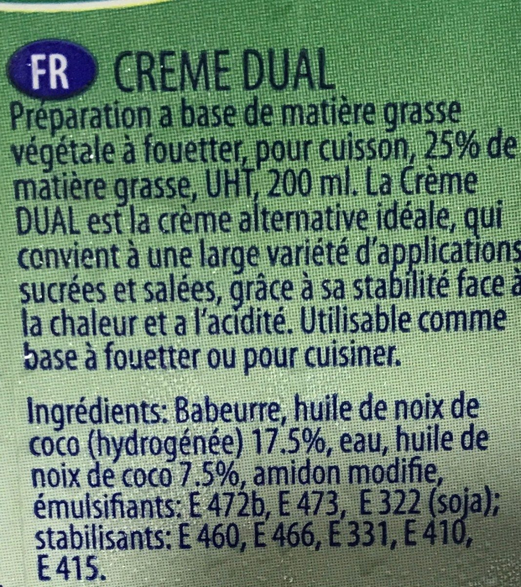 Crème Dual à base végétale - المكونات - fr