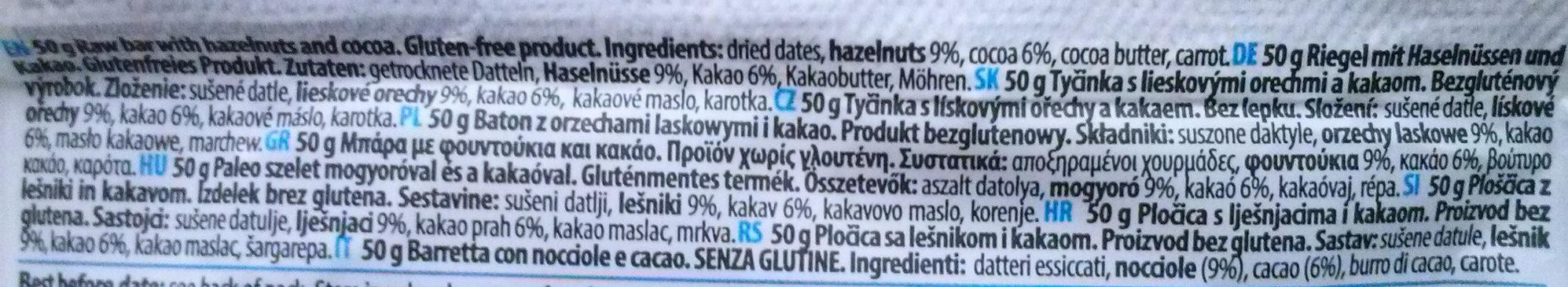 Raw Paleo Bar Kakao Haselnuss - Ingredients - en