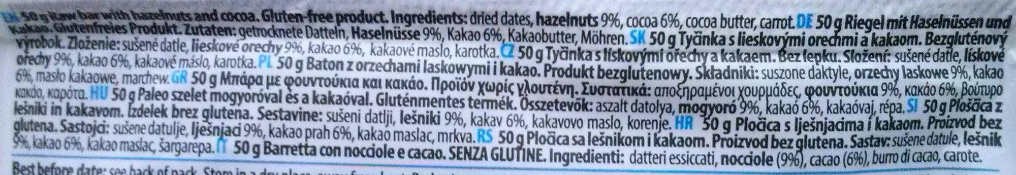 Raw Paleo Bar Kakao Haselnuss - Składniki - pl