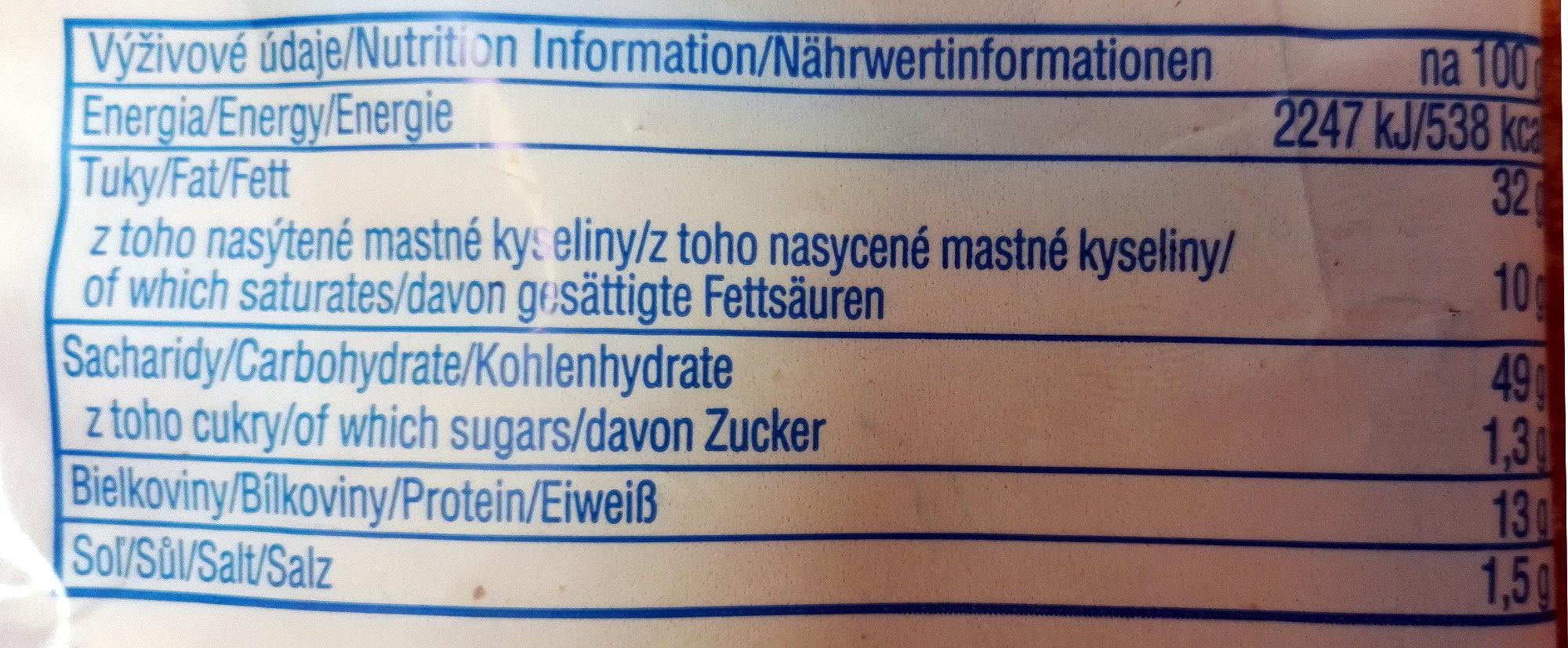 Kukuričné chrumky arašidové - Nutrition facts