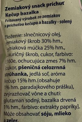 Extra Snack Kečup a bazalka - Ingredients - sk
