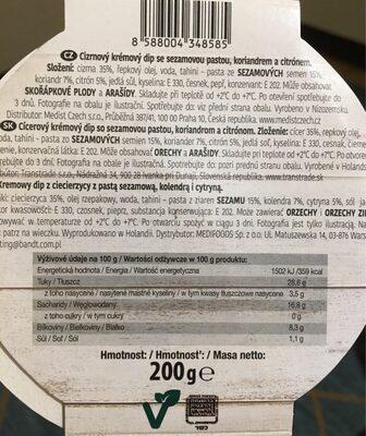 HUMMUS Coriander - Informations nutritionnelles