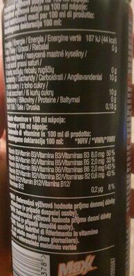 Maxx Happy Exxtreme - Nutrition facts - lt