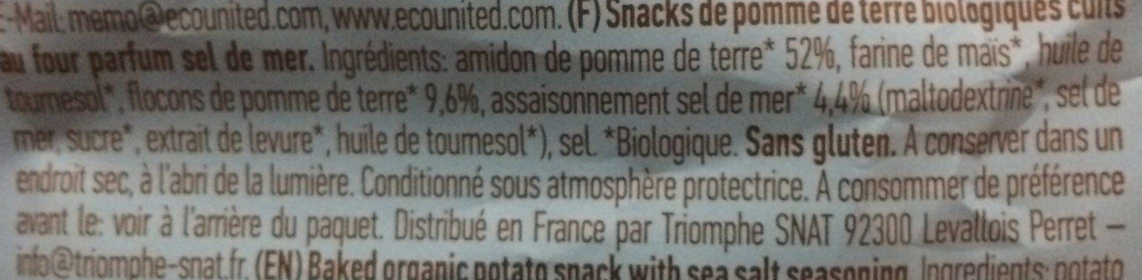Organique Potato Snack With Sea Salt 85G - Ingredienti - fr