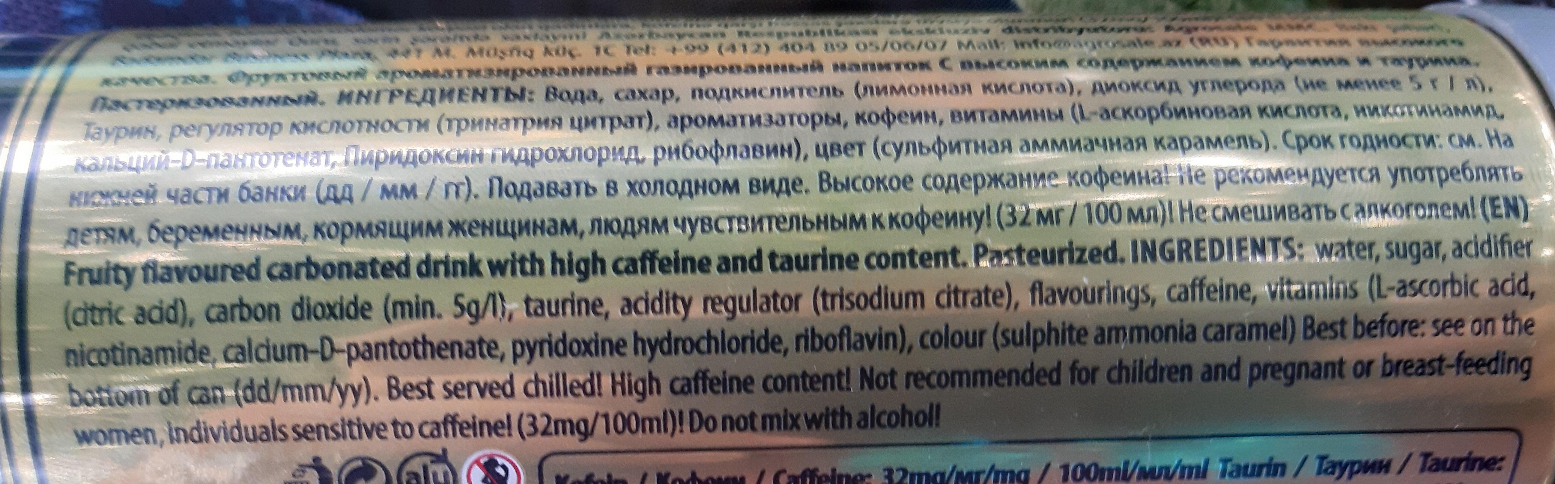 Energy drink 9mm - Ingredienti - en