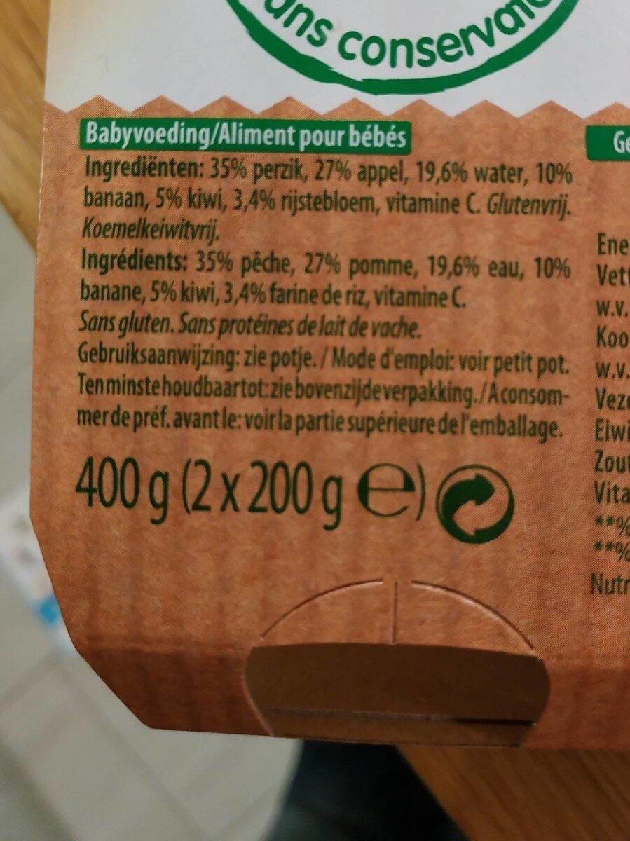 Olvarit 6M+ Pêche Banane Kiwi - Ingrediënten - fr