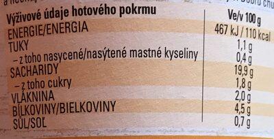 Kuskus a červená čočka - Informations nutritionnelles - cs