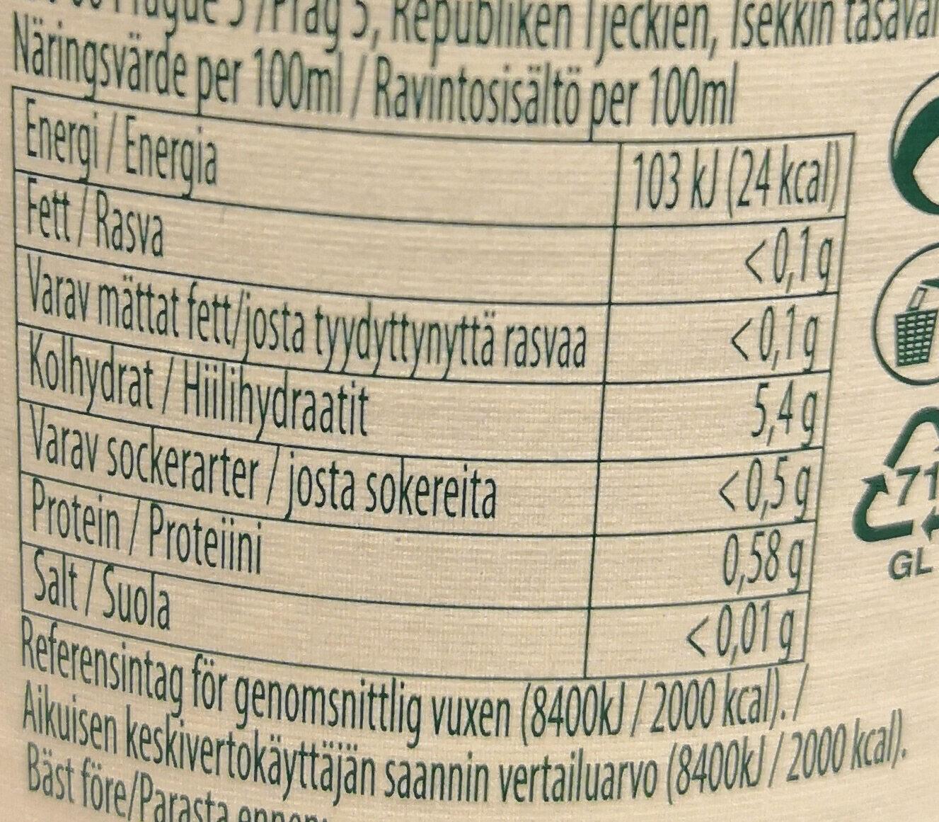 Staropramen non-alcoholic - Nutrition facts - fi