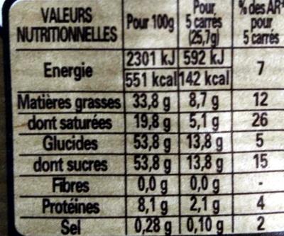 Chocolat Nestlé Dessert au café - Informations nutritionnelles - fr