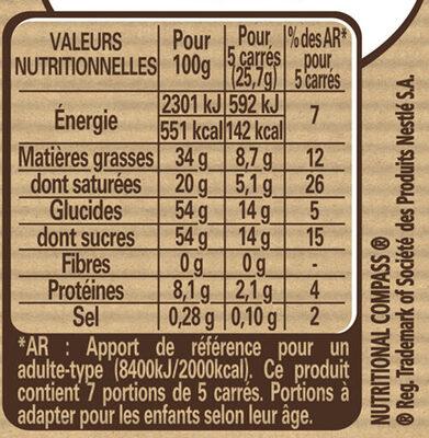 NESTLE DESSERT Chocolat blanc Café - Nutrition facts - fr