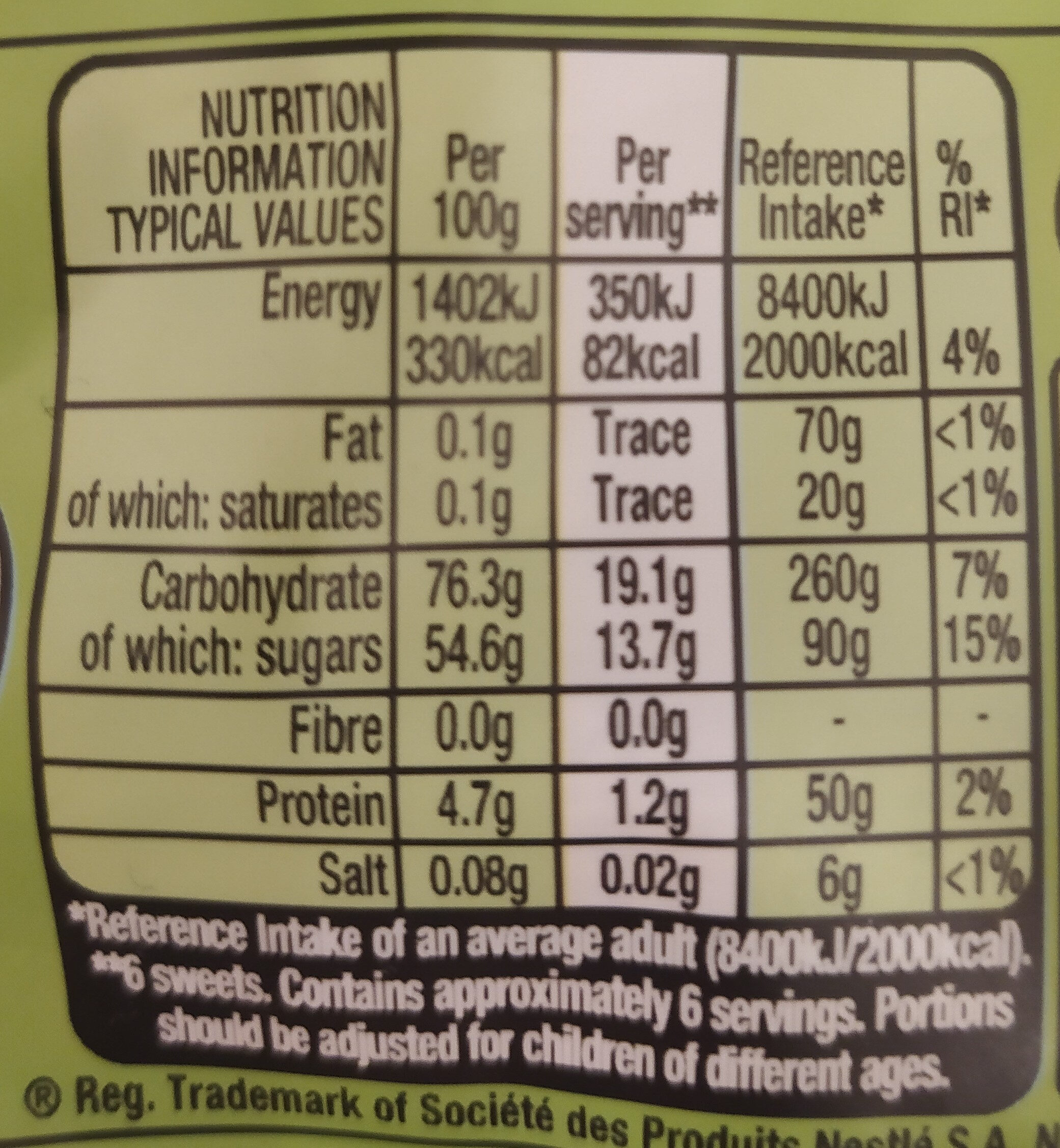 Rowntrees Randoms Pouch 150G - Nutrition facts - en