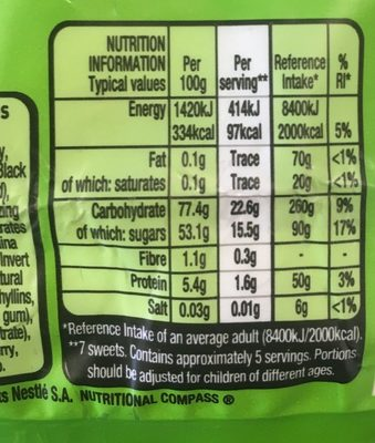Rowntrees Randoms Pouch 150G - Informations nutritionnelles - fr