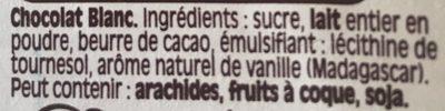 Chocolat blanc Dessert - Ingrédients