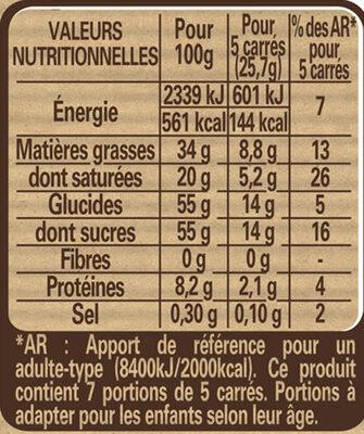 NESTLE DESSERT Chocolat Blanc - حقائق غذائية - fr