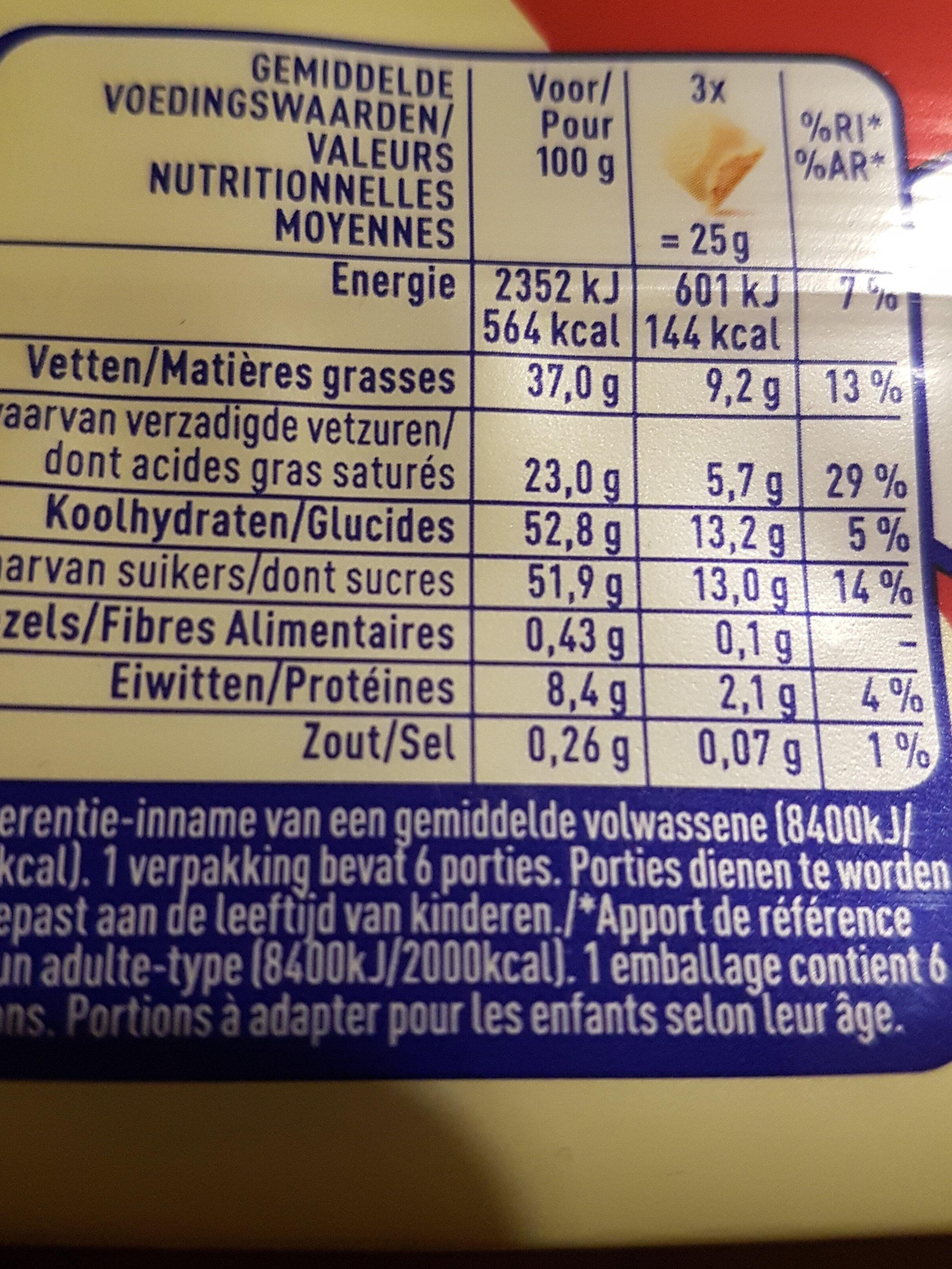 Praliné - Voedingswaarden