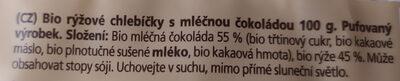 Racio Bio rýžové chlebíčky - Ingrédients - cs