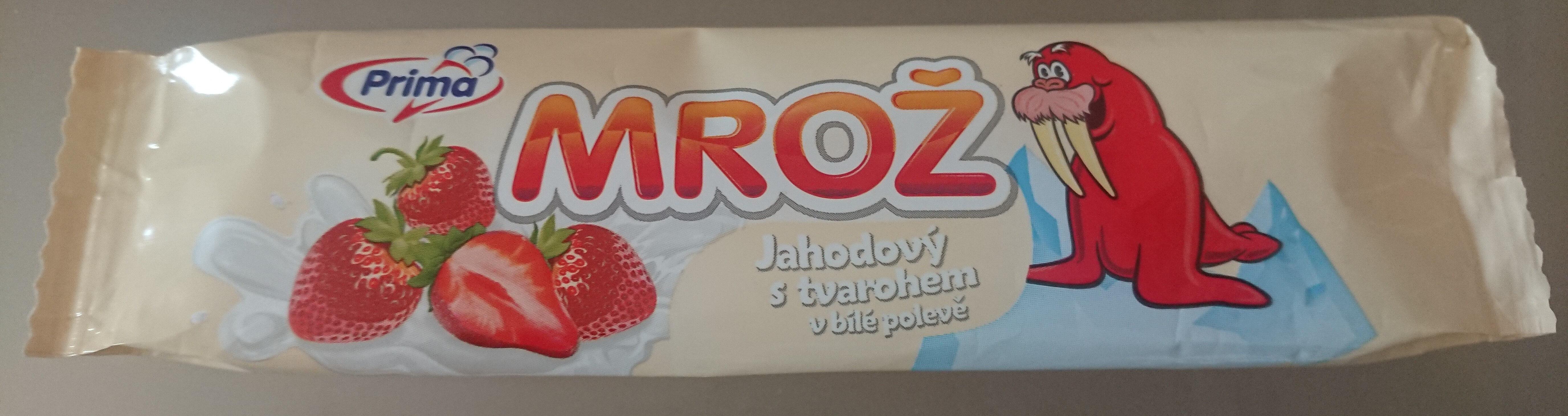 Mrož jahodový s tvarohem v bílé polevě - Product - cs