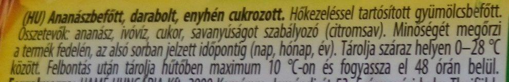 Ananászbefőtt - Ingrédients - hu