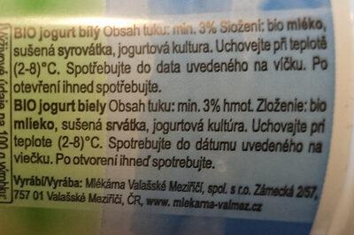 BIO Jogurt bílý - Ingredients - cs