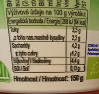 BIO Jogurt bílý - Nutrition facts - cs