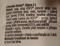 Limonáda Kofola original - Složení - cs