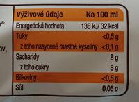 Limonáda Kofola original - Výživové údaje - cs