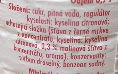 Tanja sirup s příchutí maliny - Ingrédients - cs