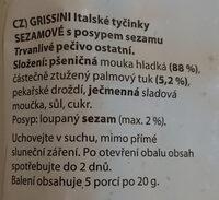 Grissini sezamové - Ingrediënten
