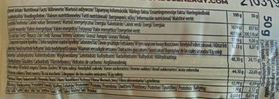 Raw energy barrita de coco y cacao sin gluten - Informations nutritionnelles