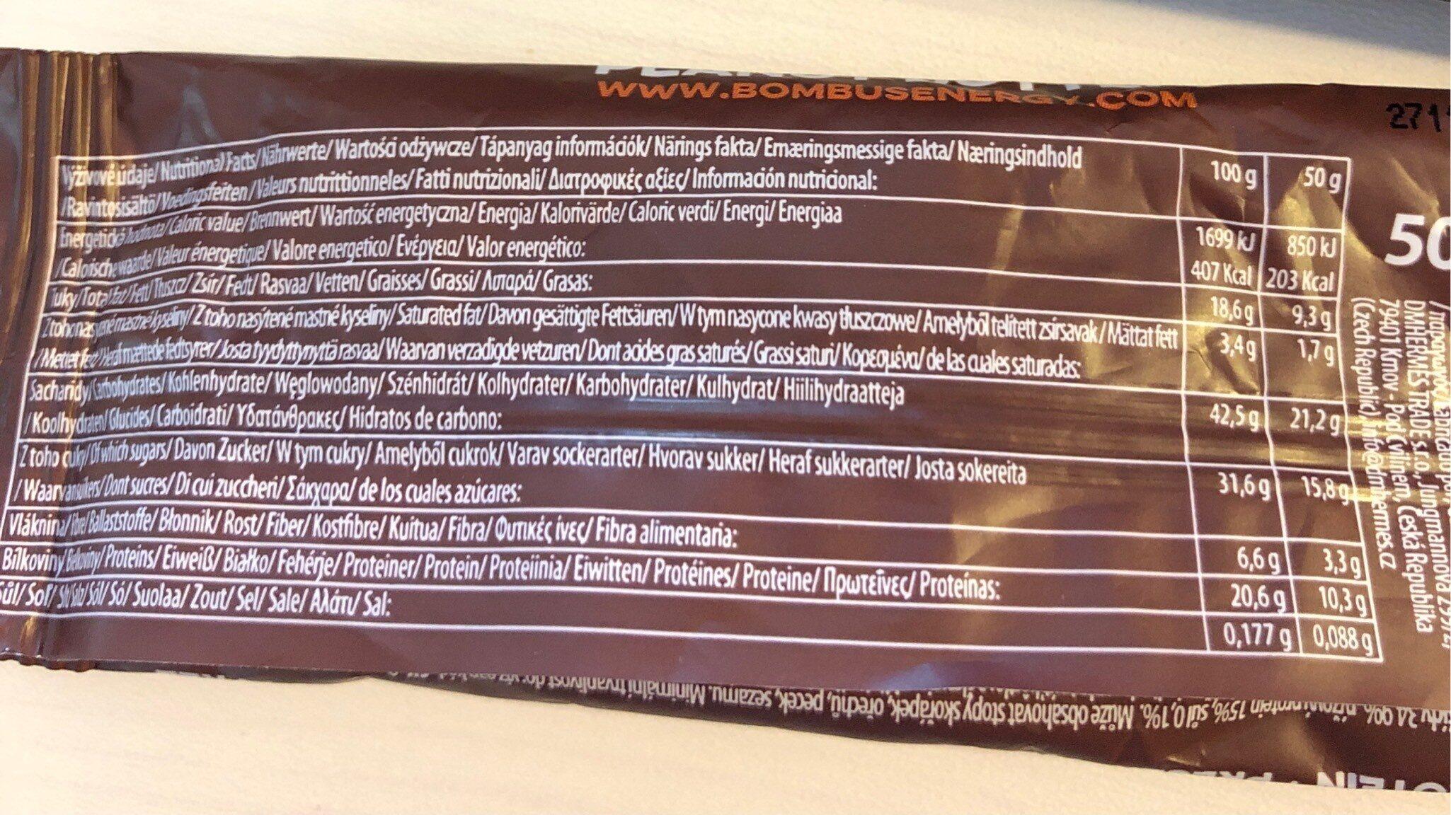 Raw protein barrita de manteca de cacahuete sin - Informations nutritionnelles - cs