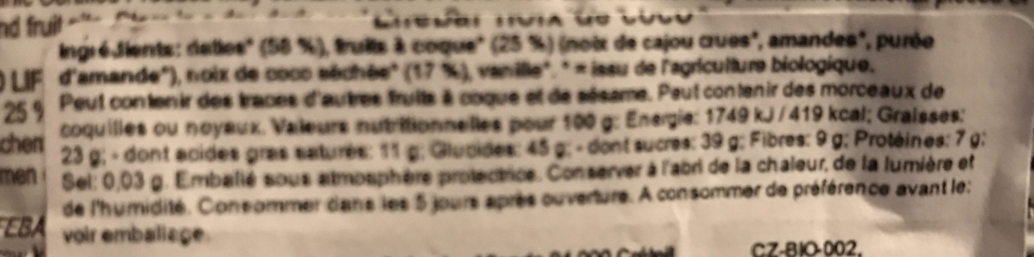 Coconut Bar - Ingredienti - fr