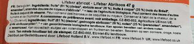 Lifebar Abricot Cru Vegan - Ingrédients - fr